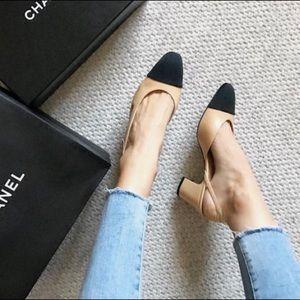Chanel slingback | beige & black